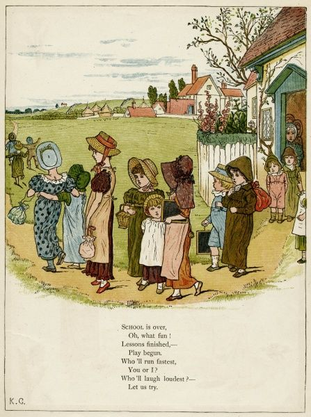 Children coming out of school, looking forward to playtime.  first published 1879