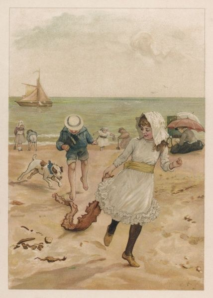 A dog chases after a fine piece of seaweed tugged by a girl across the sand, while her brother runs behind. Note the ladies sheltering beneath their parasols