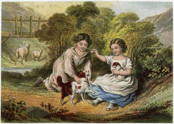 Two children play with a spaniel puppy and its mother.  early 19th century