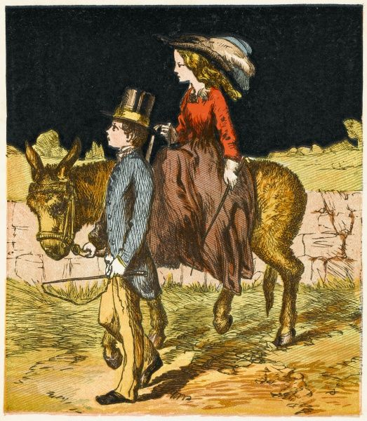 A young boy walks his little sister on a donkey