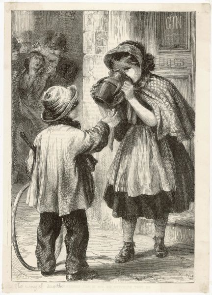 Two young children share a jug of gin outside a tavern. Are they beginning a life of intemperate misery, foulness and degradation in the eyes of God?