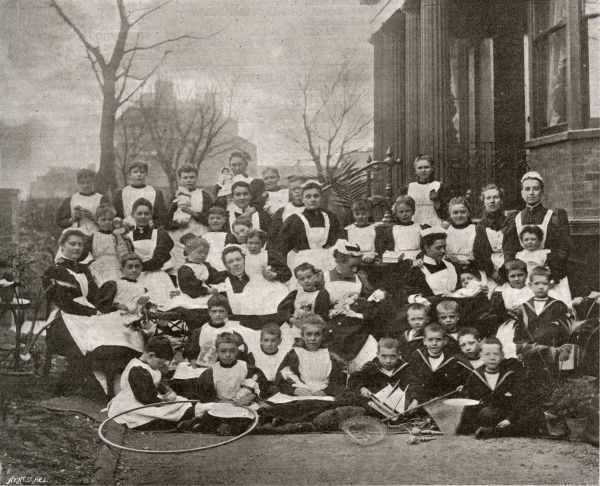 Residents outside Eastcliff House, Alexandra Road, Margate, Kent. It was established as a children's seaside convalescent home by the St Pancras Union in 1896, then sold to the Metropolitan Asylums Board for use by all London's children
