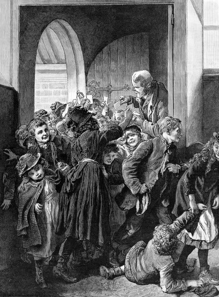 Engraving showing a large group of poor children rushing into the King Edward's Mission, Whitechapel, to receive a free dinner, 1890