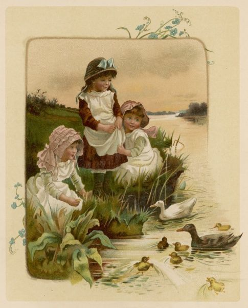Three children sit by a stream, feeding the ducks