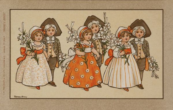 Six children, standing in couples look as if they are ready for a spring celebration or perhaps a wedding. Dressed in 18th century costume, the boys wear wigs and tricorn hats while the girls hold flowers