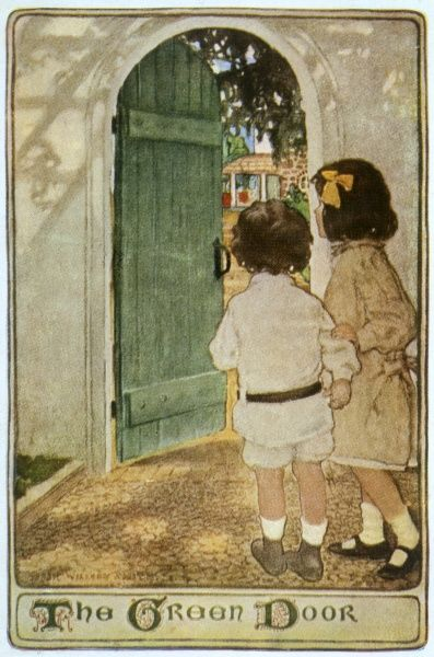 Two children going through a green door into a garden Date: circa 1900