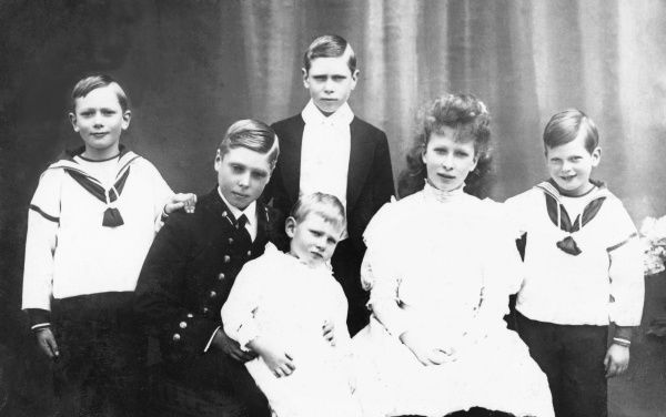 From left, Prince Henry, Duke of Gloucester, Prince Edward (Edward VIII), Prince Albert (George VI) standing, Prince John, Princess Mary & Prince George, Duke of Kent