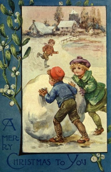 Three children with a huge snowball at Christmas, probably planning to make a snowman