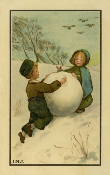 Two children with a large snowball. 19th century
