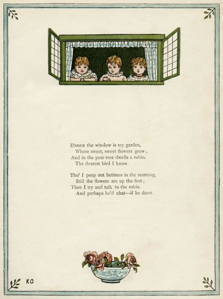 Three children looking out of a window, with a bowl of roses below.  first published 1879