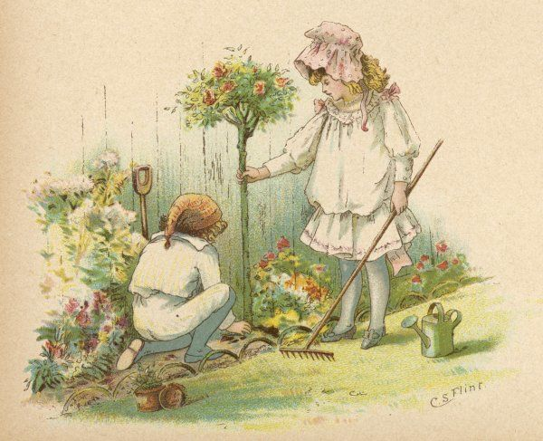 Two children, a girl and a boy, plant a rose bush
