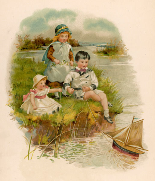 Three children play with their toy sailing boat from the riverbank