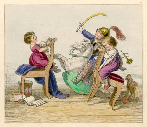 Three children play games using rocking horses and chairs as horses