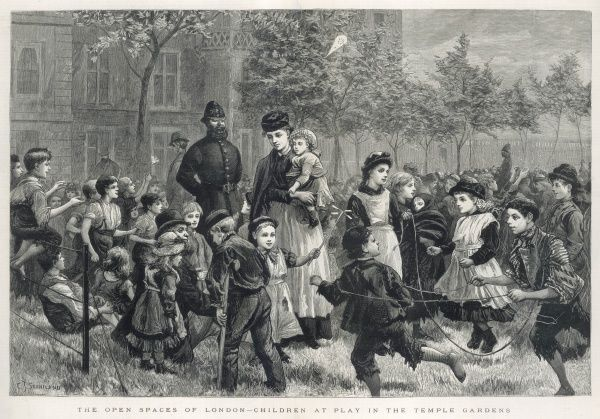 Engraving showing a large group of children playing in Temple Gardens, London, 1883. A nanny and a policeman are shown keeping the peace
