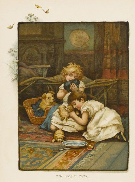 Two children play with four puppies while their mother watches nervously. Date: 1880s