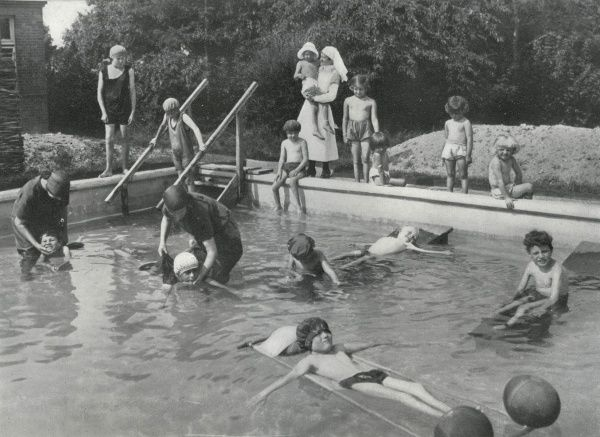 Children in the hot water bathing pool at the Queen Mary's Children's Hospital, Carshalton, Surrey