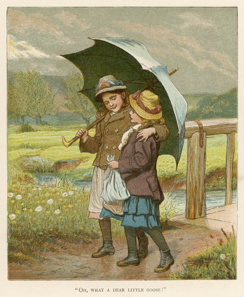 Two little girls walk home under a large umbrella on a rainy day