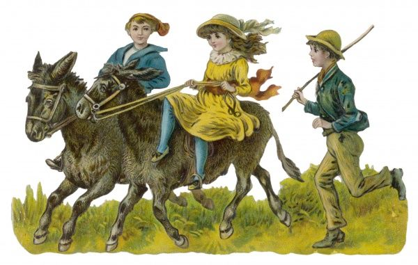 Two children riding donkeys while a boy follows with a stick
