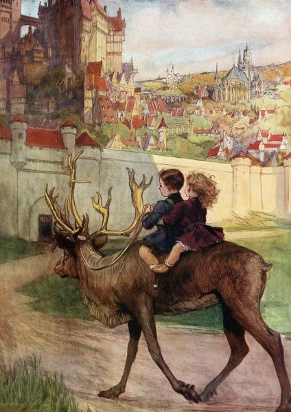 Two small children ride a reindeer towards a 'rose-red city half as old as time', an illustration to accompany a ballad written by Ffrida Wolfe. Date: 1911