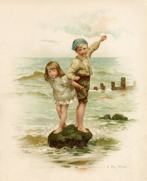 A boy and his sister stand on a rock as the waves surround them : soon they will be swept away by the incoming tide to a watery grave... or so she fears