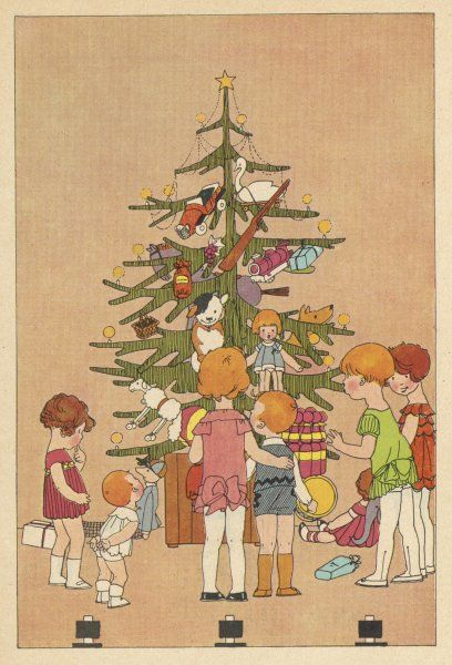 Children surround the tree, laden with presents