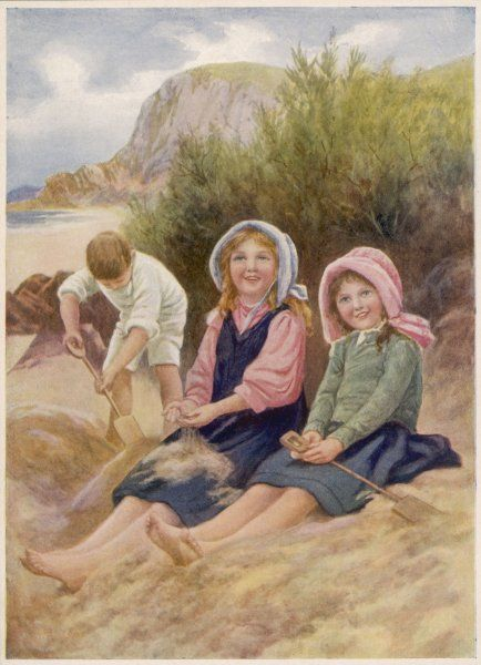 While their brother digs energetically, his two sisters are happy just to sit on the sand and let it sift through their fingers
