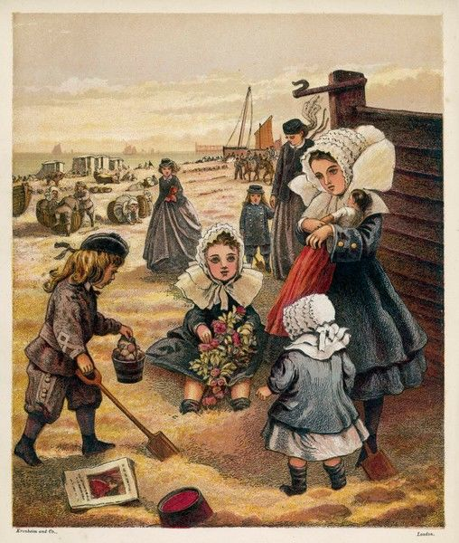 A group of overdressed children play on the sands