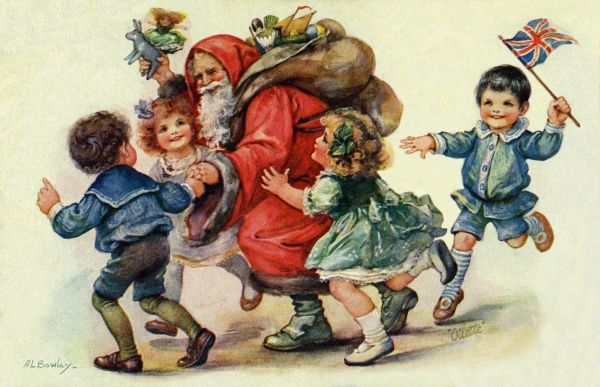 Four children crowding round Santa Claus with his sack of presents.  early 20th century