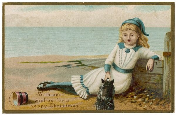A little girl and her dog relax on the beach. Date: late 19th century