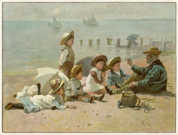 Children sitting on the beach listening to an old fisherman telling a story
