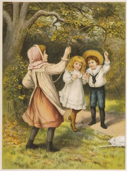 Two girls and a boy skipping underneath a tree