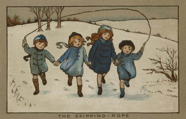 The Skipping-Rope. A quartet of children skipping through a snowy scene hand in hand