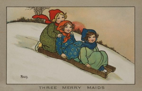 Three Merry Maids. Three little girls sliding down a hill on a wooden sledge