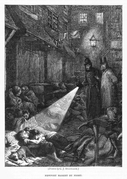 A London slum street at night - in Newport Market a policeman's 'bullseye' reveals children sleeping rough, old women huddled in corners