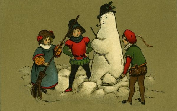 Three children admiring a snowman they have just built.  early 20th century