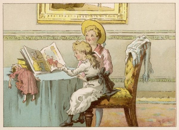 A brother and sister look at pictures in their book of nursery rhymes