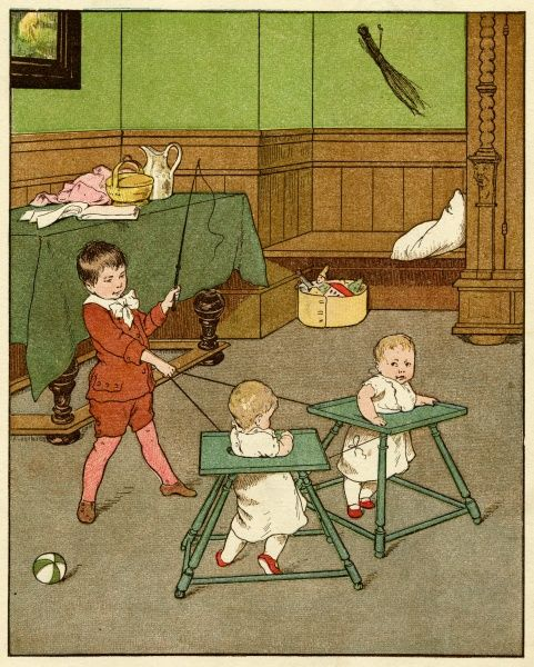 A little boy playing in the nursery turns his younger brothers in their baby walkers into horses, just for fun. Date: late 19th century