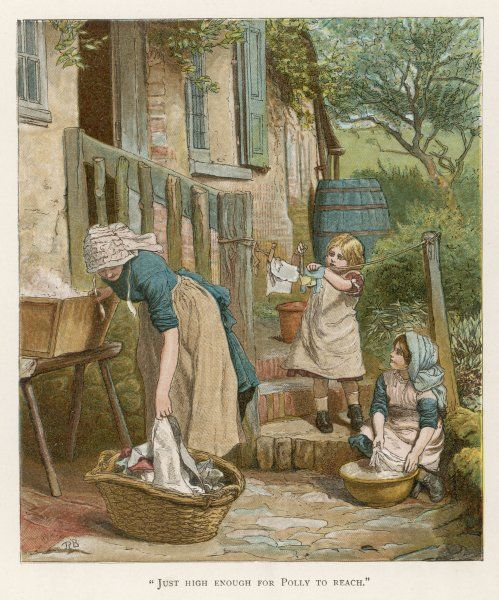 Two little girls help their mother with the laundry on washday