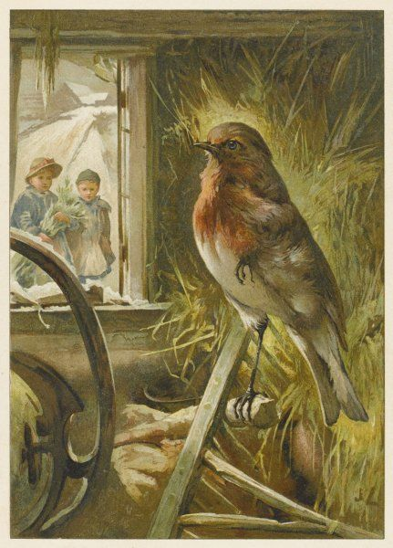 Two children watch a robin the barn who is standing on one leg