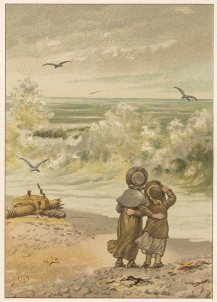 Two children watch the breakers, awed by the power of the waves which have thrown up wreckage from a ship onto the shore
