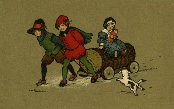 Three children and their dog with a yule log. early 20th century