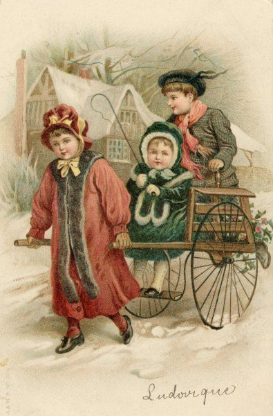 A girl valiantly pulls a handcart containing her brother, her sister and some holly