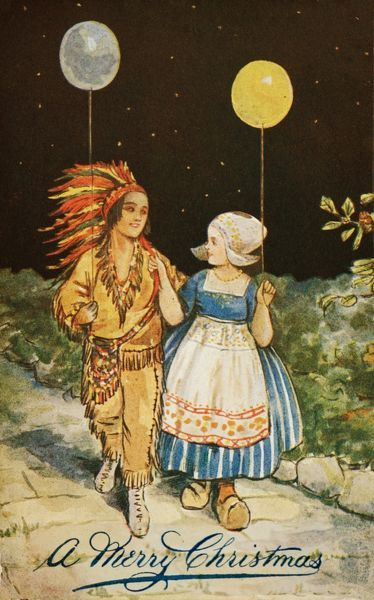 A Merry Christmas -- a little Dutch girl and a Red Indian boy walk along, each one with a balloon in hand