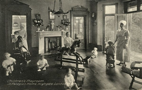 The children's playroom at St Pelagia's Home 'for penitent girls' at 34 Highgate West Hill, London N6. The home provided accommodation for unmarried mothers and their children. Date: circa 1932