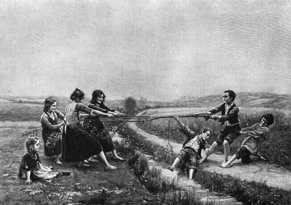 In this battle of the sexes, the girls seem to be winning - one of the boys has already fallen into the ditch and soon his companions will follow... Date: 1901