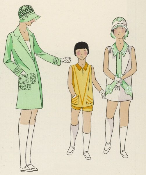 Three children who were taken by their fashion-conscious mums to A la Enseigne de Mignapouf, in the rue Boissy d'Anglas, Paris, for what to wear on their summer hols