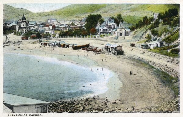 Chile - Chica Beach ('Girl's Beach') at Papudo Date: circa 1910s