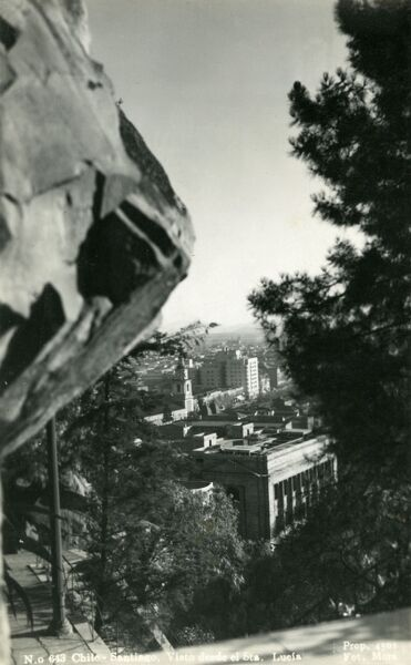 View from Santa Lucia, Santiago, Chile. A hill in Santiago converted into a Public Park. Date: 1939