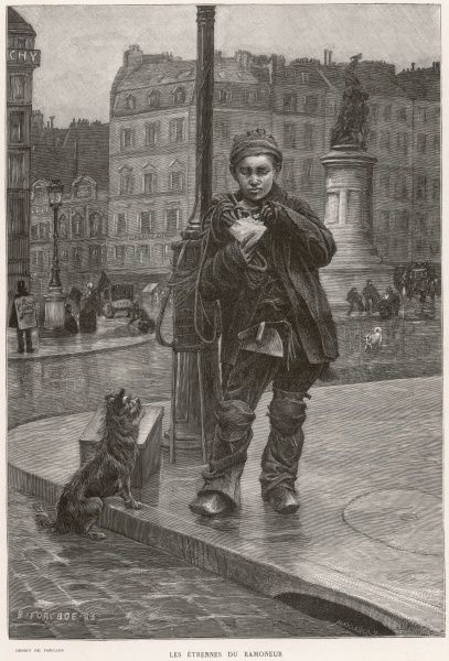 A chimney sweep takes a break from his work to enjoy a well-deserved snack. A dog looks on expectantly, hoping for a share of the food