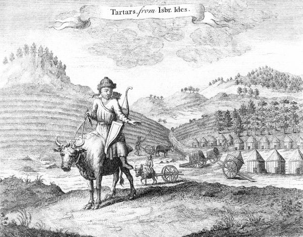 TARTARS A farmer rides an ox ; behind him is his village, and a field being plowed Date: 1752